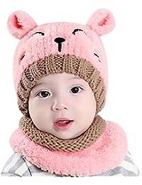 Bonnet et Écharpe bébé enfant fille garçon 1-3 ans, Ensemble Bonnet Echarpe Hiver Chaudes Coif Casquettes Écharpe Réchauffez Pour Enfant Unisexe