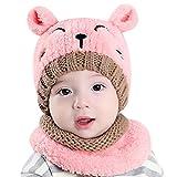 Bonnet et Écharpe bébé enfant fille garçon 1-3 ans, Ensemble Bonnet Echarpe Hiver Chaudes Coif Casquettes Écharpe Réchauffez Pour Enfant Unisexe (Rose)