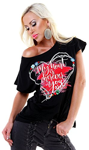 f4y Damen Stretch Cutouts Print T-Shirt MISS KISS - Black-Mix - Size 38-40 - mit Strass und Pailletten - Kiss Print T-shirt