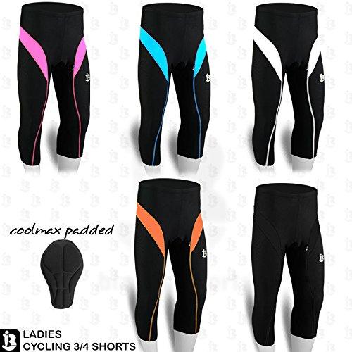 Damen Fahrrad Shorts 3/4drei Viertel Coolmax Gepolsterte Strumpfhosen Legging S bis XL, damen, rose (Bike-shorts-leggings-strumpfhosen)