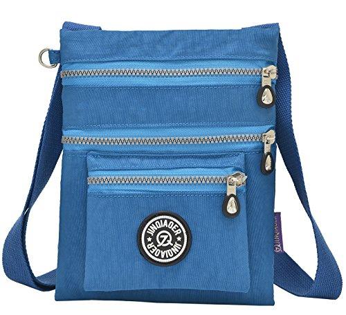 Supamodern tracolla in nylon impermeabile per donne a tracolla iPad bag Phone bag leggero sacchetto esterno al giorno per donne, donna, Purple Red, S Ocean Blue