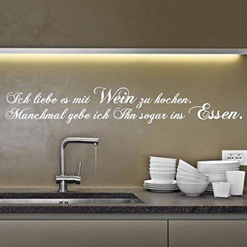 denoda Ich liebe es mit Wein zu kochen. - Wandtattoo Gold 324 x 50 (Wandsticker Wanddekoration Wohndeko Wohnzimmer Kinderzimmer Schlafzimmer Wand Aufkleber)