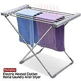 Popamazing 94 x 50 x 74 cm, aus Aluminium, leicht, zusammenklappbar, elektrisch beheizt, Wäschetrockner Wäscheständer 50°C