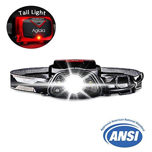 Aglaia Stirnlampe, Kopflampe, LED Outdoor Sports Head Light, 2 in 1 Mit Superhellen 8 Modellen mit Rückleuchten, 2 Erfassungsmodi, SOS-Modus, IPX4 wasserdicht, Winkel Einstellbar 45 Grad, Scheinwerfer 250 Lumen AAA-Batterien