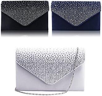Vococal - Bolso de Mano cartera de Gran Diamante Satinado / Bolso de Hombro Solo con Cadena para Mujer Noche Fiesta