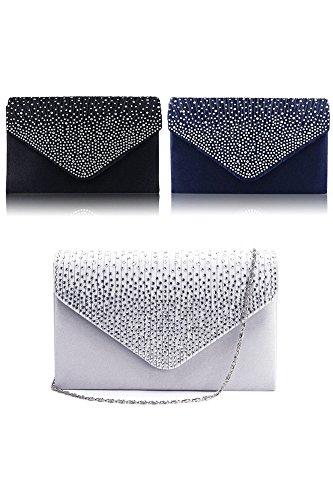 Vococal® Femmes Lady Diamante Satin grand sac à main enveloppe pochette unique sac à bandoulière avec chaîne pour Prom Party en soirée