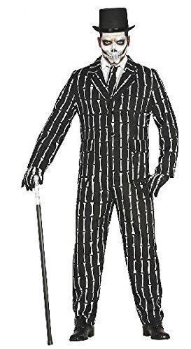 Knochen Anzug Halloween Kostüm für Herren Halloweenkostüm Herrenkostüm Sakko Hose Skelett Suit mit Krawatte Gr. M-L, Größe:L