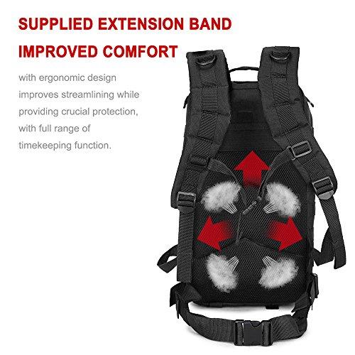 Rophie 36L NylonWasseredichte Rucksäcke Damen Herren Militärische Backpack für Camping, Freizeit, Reisen, Outdoor Wandern und weiter(Armee-Grün) schwarz