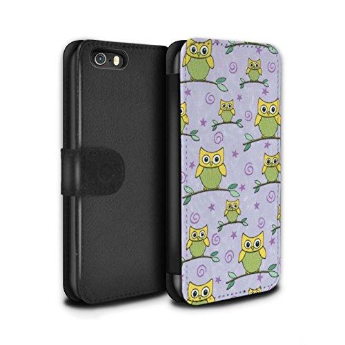 Stuff4 Coque/Etui/Housse Cuir PU Case/Cover pour Apple iPhone SE / Bleu/Blanc Design / Motif Hibou Collection Jaune/Violet