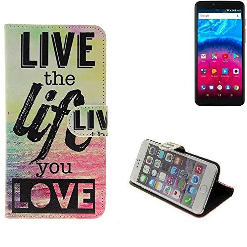 K-S-Trade Archos Core 57S Schutz Hülle 360° Wallet Case ''live Life Love'' Schutzhülle Handy Tasche Handyhülle Etui Smartphone Flip Cover Standfunktion (1x)