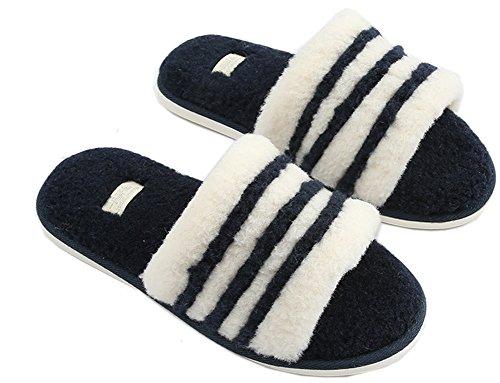 Foto de biorelax Invierno Mujer Hombre Zapatillas de Estar por casa Peluche nordikas Andar Niños Cerradas Abiertas Pantuflas pies calienta Niña Slippers Zapatos para termicas Originales Azul 41-42