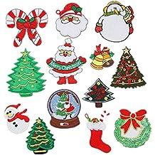 Bella 13pcs Parches Apliques Patches Sticker Parche Termoadhesivo Lentejuelas Arbol de Navidad Santa Claus Snowman Bell
