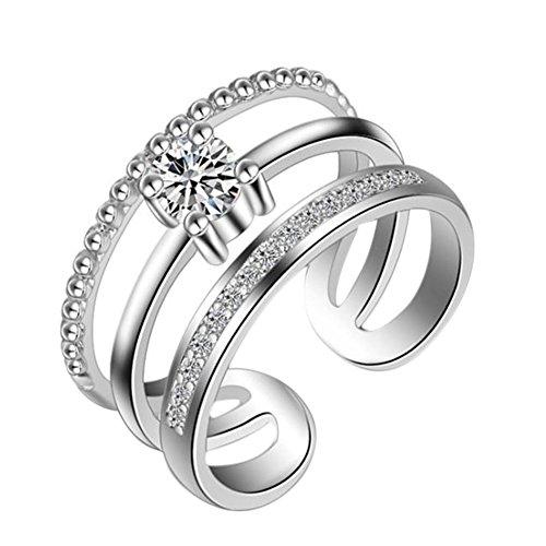 Monbedos Damen-Ring, verstellbar, mehrschichtig, Diamanten-Ehering, Silber & Gold, Hochzeitsring, Verlobungsring, Verlobungsring, Ewigkeitsring, Silber (Halo Diamant Versprechen Ringe)