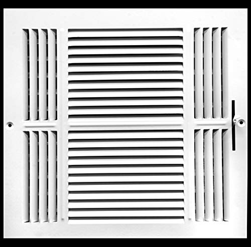 15,2cm W x 15,2cm H 3-Wege-Air Supply Gitter-Duct Cover & haltesystems-flach Prägung Face-Weiß (Wand-vent Cover Duct)