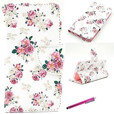 S6 Case, [Card Holder] [Magnetic Closure] Leather Wallet Case for Galaxy S6, JCmax Premium Slim Flip PU Leather Wallet Case for Samsung Galaxy S6 Flim -[Floral Rose Pattern