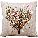 Internet Images colorées canapé lit Home Café Decor taie d'oreiller Carré housse de coussin Linge de coton Invisible fermeture à glissière 45cm*45cm (Beige(Arbre))