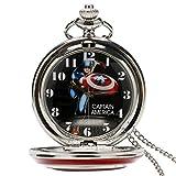 Reloj de Bolsillo para Hombre, diseño de Escudo del Capitán América