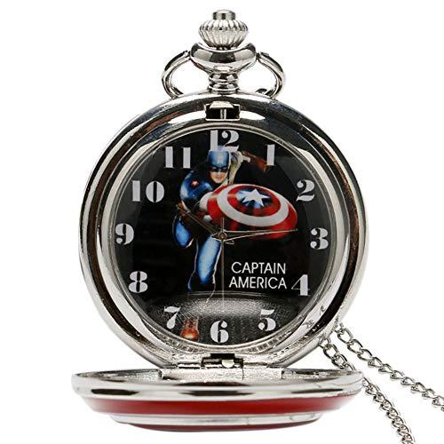 Mode Film Quarz Taschenuhr Männer Frauen Anhänger Silber Halskette Uhren Unisex Captain America Avengers Schild ()