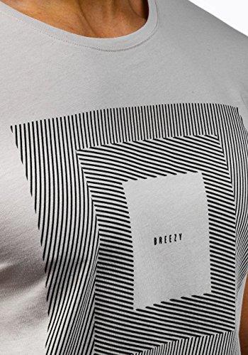 BOLF Herren Kurzarm T-shirt mit Aufdruck Sommer Party 3C3 Motiv Beige