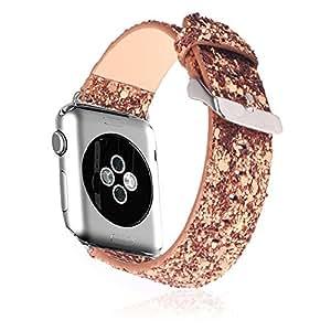 Apple iWatch-Band von rotibox, Echtleder Premium-Smartwatch-Band, handgefertigtes Armband, Ersatz, Metall-Schließe und Edelstahl-Schnalle, für Apple Watch & Sport & Edition 42mm–braun