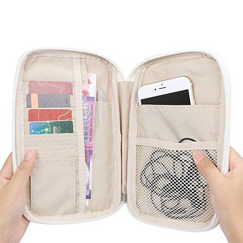 G2PLUS Passport Wallets Organizer Durable Waterproof Travel Wallet Purse with Hand Strap Zip Closure Document Organizer Passport Ticket Credit ID card Cash Holder Case (Model 1 Pink)