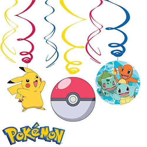 6-teiliges Swirl-Decken-Deko-Set * Pokemon * für Kindergeburtstag und Mottoparty   Deckendeko Raumdeko Deckenhängern
