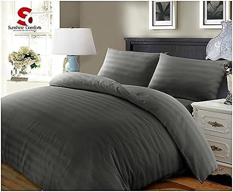 Sunshine Comforts® 100% Egyptian Cotton Hotel Quality Satin Stripe Duvet Cover & Pillow Cases Bedding Sets (King,