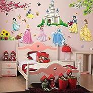 princess birds flower castle wall stickers home decor for kids rooms girl children's bedroom sti