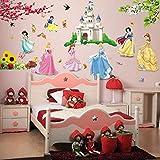 ملصقات جدارية بتصميم الاميرة وطيور زهرة القلعة لتزيين المنزل وغرف الاطفال والبنات