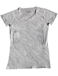Clever Travel Companion Women's Fitted V-Neck T-Shirt with 2 Secret Pockets