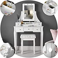 Arianna Deluxe White Dressing Table with Hollywood Bulbs LED Lights & Vanity Mirror 5 Drawers Stool For Makeup Bedroom Jewellery Set