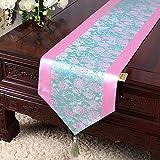 Gartentischfahne Tischdecke Couchtischdecke Bettflaggenschrank Flagtisch langer Tisch Tuchstoff hellgrüne Puderseite 33x200 cm (13x79 Zoll)