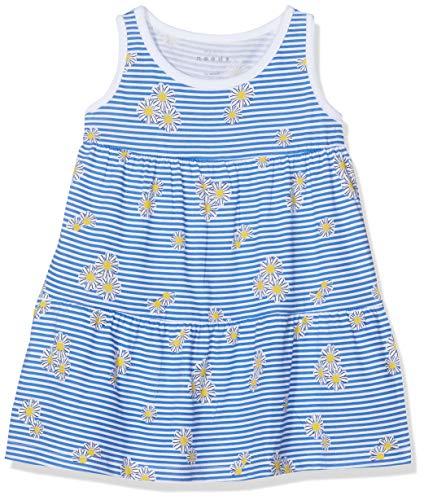 NAME IT Baby-Mädchen NMFVIGGA Spencer Dress H Kleid, Weiß (Bright White AOP: W Blue Stripes and Flowers), Herstellergröße: 98 - Kleinkind-linie Kleid Muster