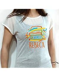 Lolapix - Camiseta Mujer Mejor Profesora. Personalizada con el Nombre de la Profesora, Original