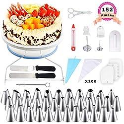 WisFox Plateau à Gâteaux, Kit de Pâtisserie Plateau Tournant de Gâteau 152 Pcs Gâteaux Tournant pour Cuisine Décoration de Gâteaux