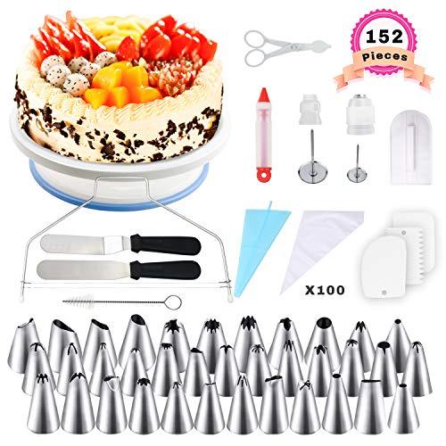 WisFox 152 Teiliges Tortenplatte Drehbar Tortenständer Kuchen Drehteller Spritztüllen Set mit 36 Spritztüllen,100 Einweg Spritzbeutel,2 Adapter,2 Spatel,2 Blumennägel,1 Spritze usw Kuchen Backzubehör