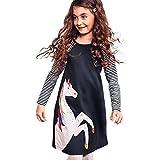 bobo4818 Mädchen Kleid Langarm Baumwolle Sommer Langarm T-Shirt Kleid (7T/6-7 Jahre)