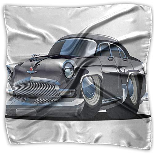JJIAYI Mixed Designs Silk Square Scarves Bandana Scarf, Retro Inspired Car Design With Asymmetric Tires Fast Car Speeding Cool Logo,Womens Neck Head Set -
