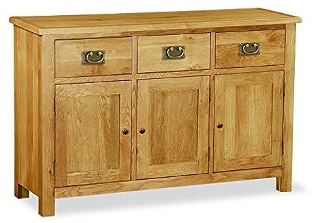 Suffolk 3 Door 3 Drawer Triple Sideboard Solid Oak Fully Assembled