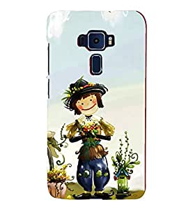 Cute Cartoon 3D Hard Polycarbonate Designer Back Case Cover for Asus Zenfone 3 ZE552KL (5.5 inches)