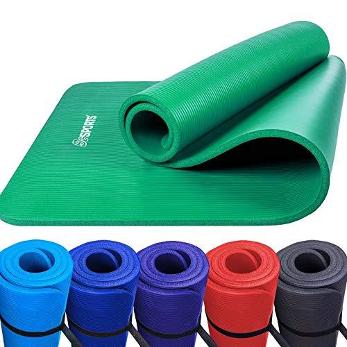 Scsports Gymnastik-/ Yoga-Matte, dick und Rutschfest, mit Schultergurt, 190 cm x 80 cm x 1,5 cm, grün