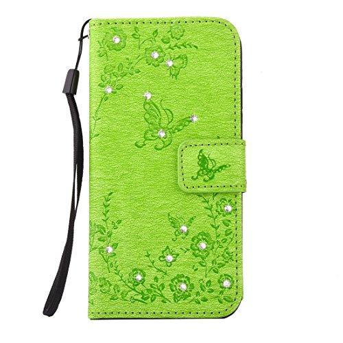 Apple iPhone 66S case, Ledowp Bling farfalla in rilievo diamante set Premium pelle PU Flip Cover custodia con chiusura magnetica porta carte di credito per iPhone 66S 11,9cm marrone Light Brown Lawn Green