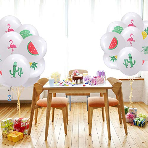 Amosfun 10pcs 12 Zoll Hawaiian Luftballons Luau Luftballons Pink Ribbon Luftballons Latex Luftballons Hawaiian Partydekorationen (Flamingo) -