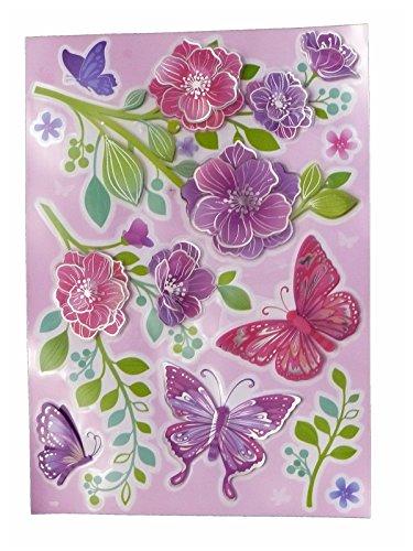 dpr. Fenstersticker 3D Set 10-tlg. - Schmetterlinge Blumen Blüten - Fensterbild Fensterdekoration Ostern Frühling