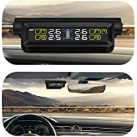 Smart Car Tpms - Sistema de control de presión de neumáticos, energía solar digital, pantalla LCD, sistema de alarma de seguridad automático, monitor de temperatura en tiempo real, universal, batería de litio integrada, cable USB de dos tomas de alimentación