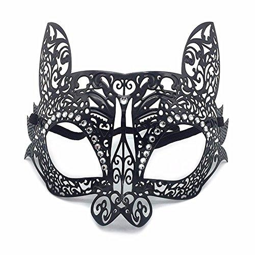 ONE-K Mask SpitzeMaskerade Eisen Maske Bunny Diamond Metall Half Face Party Cat Gesichtsmaske Halloween, Katze Gesicht Schwarz (Halloween Katze Schwarze Gesichter)