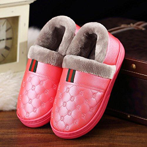 DogHaccd pantofole,Coppie scarpe di cotone uomini e donne inverno soggiorno impermeabile di spessore, antiscivolo pacchetto termale con morbida pelle pu pantofole inverno Il rosso3