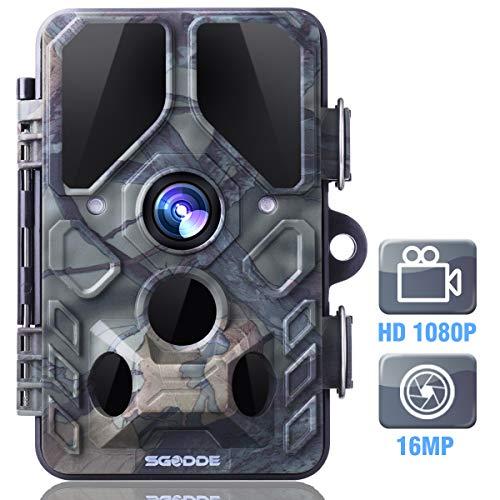"""SGODDE Wildkamera,16MP 1080P Full HD 5.0 Jagdkamera Infrarot-Nachtsicht bis zu 65 Fuß/20m,42 IR LEDs Bewegungsmelder 120 ° Weitwinkelobjektiv IP66 Wasserdicht 2.4\"""" LCD 0,7 Sekunden Auslösezeit (B)"""
