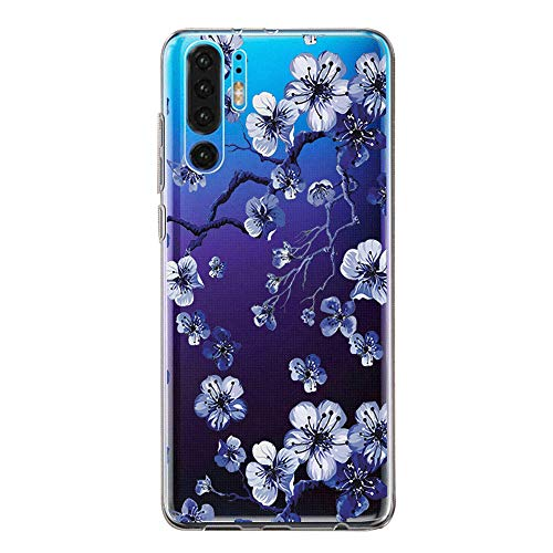 pooier Kompatibel Mit Huawei P30 Pro Hülle Durchsichtig Silikon Handyhülle Ultra Slim Wasserdicht Schutzhülle Elegant Muster Clear Rosa Blumen Tasche (Huawei P30, TPU Lila) -