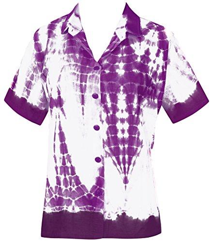 La Leela Baumwolle Tie Dye Strand Hawaiische Bluse Knopf Unten Frauen Shirt Weiß Violett (Weiße Baumwoll-kleid Für Tie Dye)